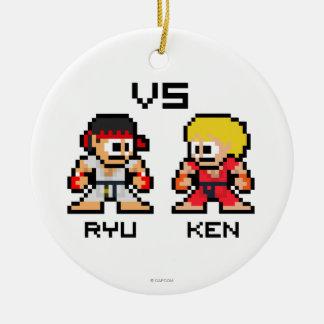 8bit Ryu VS Ken Double-Sided Ceramic Round Christmas Ornament