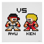 8bit Ryu VS Ken Poster
