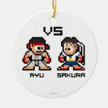 8bit Ryu VS Sakura Christmas Tree Ornaments