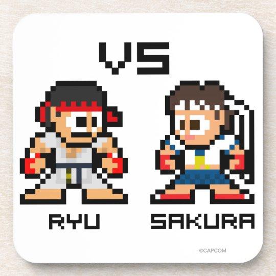 8bit Ryu VS Sakura Drink Coaster