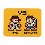 8bit Ryu VS Sakura Rectangular Magnet