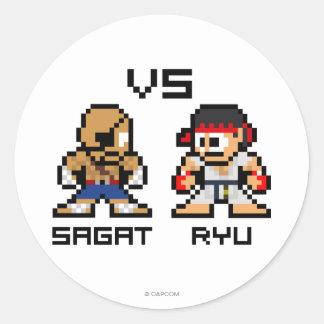 8bit Sagat CONTRA Ryu Etiqueta Redonda