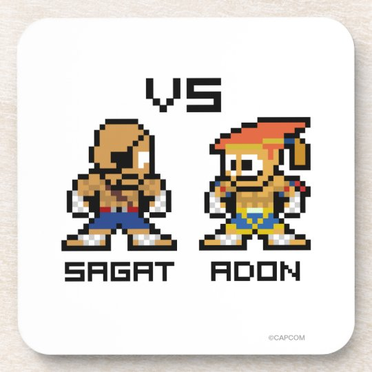 8bit Sagat VS Adon Beverage Coaster