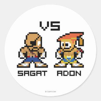 8bit Sagat VS Adon Classic Round Sticker