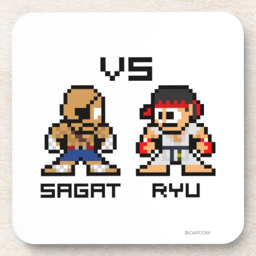 8bit Sagat VS Ryu Drink Coasters