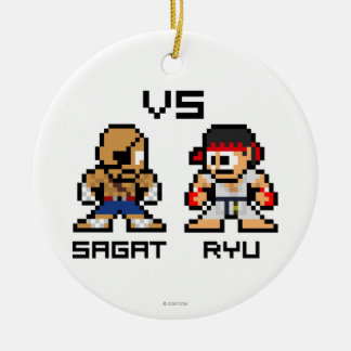 8bit Sagat VS Ryu Double-Sided Ceramic Round Christmas Ornament