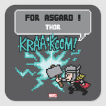8Bit Thor Attack - For Asgard! Square Sticker