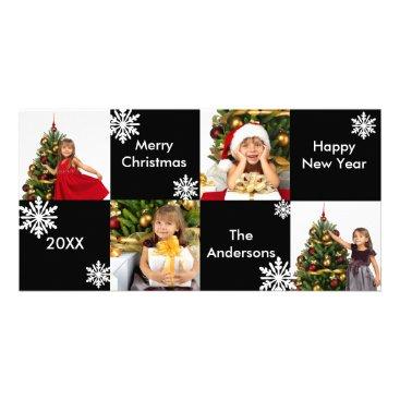 Christmas Themed 8H Squares Black White Snow - Christmas Photo Card
