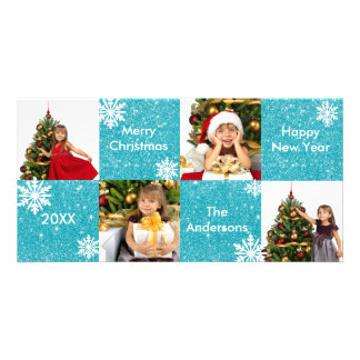 8H Squares Blue Glitter - Christmas Photo Card