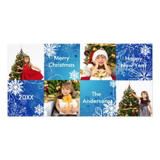 8H Squares Blue Snow Design - Christmas Photo Card