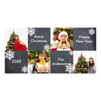 8H Squares Chalkboard - Christmas Photo Card