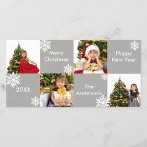 8H Squares Gray Snow - Christmas Photo Card
