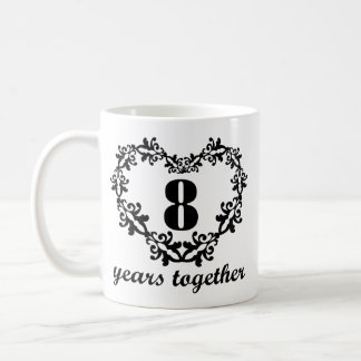 8th Anniversary 8 Years Together Heart Gift Mug