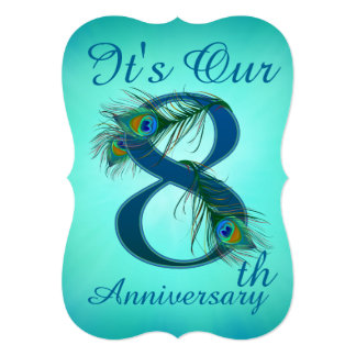 8th Anniversary invitation cards number 8
