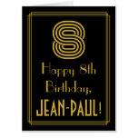 "[ Thumbnail: 8th Birthday: Art Deco Inspired Look ""8"" + Name Card ]"