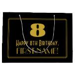 "[ Thumbnail: 8th Birthday — Art Deco Inspired Look ""8"" & Name Gift Bag ]"