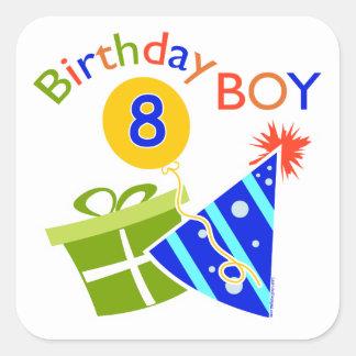 8th Birthday - Birthday Boy Square Stickers