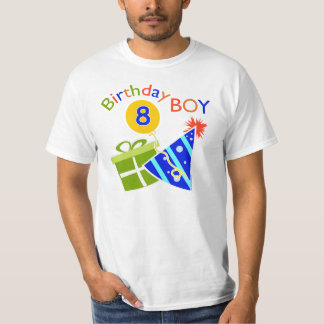 8th birthday birthday boy tshirt