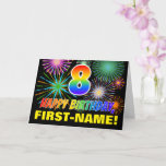 [ Thumbnail: 8th Birthday: Bold, Fun, Fireworks, Rainbow 8 Card ]