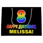 [ Thumbnail: 8th Birthday: Bold, Fun, Simple, Rainbow 8 Gift Bag ]