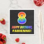 [ Thumbnail: 8th Birthday: Bold, Fun, Simple, Rainbow 8 Napkins ]