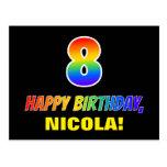 [ Thumbnail: 8th Birthday: Bold, Fun, Simple, Rainbow 8 Postcard ]