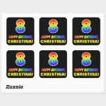[ Thumbnail: 8th Birthday: Bold, Fun, Simple, Rainbow 8 Sticker ]
