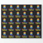 [ Thumbnail: 8th Birthday: Bold, Fun, Simple, Rainbow 8 Wrapping Paper ]