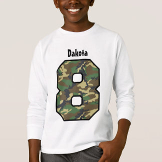 8th Birthday Boy Camo Eight Year Custom Name V04 T-Shirt