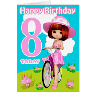 8th birthday wishes gifts on zazzle 8th birthday card pretty little girl on a bicycle bookmarktalkfo Image collections