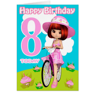 8th Birthday Card Pretty Little Girl On A Bicycle