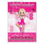 8th Birthday Cheerleader Dancing, Stars In Pinks Greeting Card