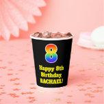 [ Thumbnail: 8th Birthday: Colorful, Fun, Exciting, Rainbow 8 ]