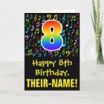 [ Thumbnail: 8th Birthday: Colorful Music Symbols + Rainbow 8 Card ]