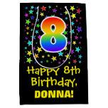 [ Thumbnail: 8th Birthday: Colorful Stars Pattern & Rainbow 8 Gift Bag ]