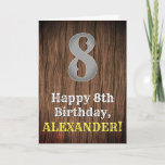 [ Thumbnail: 8th Birthday: Country Western Inspired Look, Name Card ]