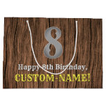 [ Thumbnail: 8th Birthday: Country Western Inspired Look, Name Gift Bag ]