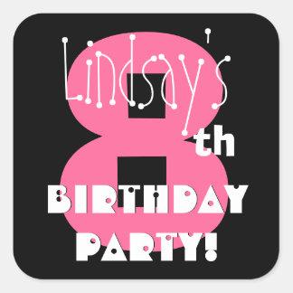 8th Birthday Custom Name Pink and Black Sticker