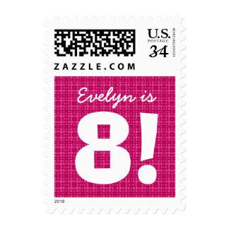 8th Birthday Custom Name Pink Squares for GIRL B8Z Postage Stamp