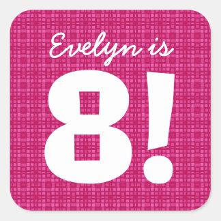 8th Birthday Custom Name Pink Squares for GIRL B8Z Square Sticker