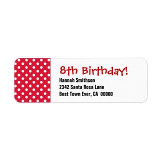 8th Birthday Cute Polka Dot Pattern Custom Return Address Label