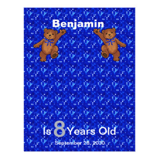 8th Birthday Dancing Bear Scrapbook Paper 1