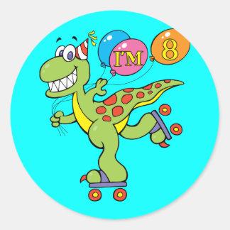8th Birthday Dinosaur Classic Round Sticker