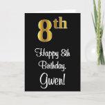 [ Thumbnail: 8th Birthday ~ Elegant Luxurious Faux Gold Look # Card ]