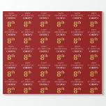 [ Thumbnail: 8th Birthday: Elegant, Red, Faux Gold Look Wrapping Paper ]