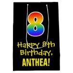 "[ Thumbnail: 8th Birthday: Fun, Bold, Colorful, Rainbow ""8"" Gift Bag ]"