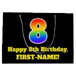 [ Thumbnail: 8th Birthday ~ Fun, Colorful, Vibrant, Rainbow 8 Gift Bag ]