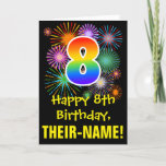 [ Thumbnail: 8th Birthday: Fun Fireworks Pattern + Rainbow 8 Card ]