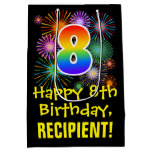 [ Thumbnail: 8th Birthday: Fun Fireworks Pattern + Rainbow 8 Gift Bag ]
