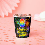 [ Thumbnail: 8th Birthday: Fun Fireworks Pattern + Rainbow 8 ]